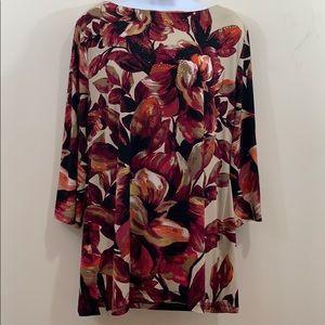 JM Collection Long Sleeve Boatneck Floral Shirt